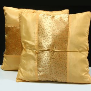 Pair of Silk Decorative Pillow Case Cover Cushion Golden With Floral Pattern