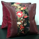 Pair Of Silk Decorative Pillow Case Cover Cushion Dark Red With Painting Floral Pattern
