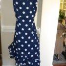 Milano Navy White Polka Dot Sun Summer Dress Size 12