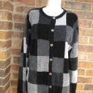TALBOTS Petite Silk Blend Color Block Cardigan L Size Sweater Women Black/Gray