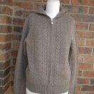 J CREW Women 100% Lambs Wool Zip Hoodie Cardigan Sz L Cable Sweater Brown Hood
