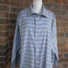 ESKANDAR England Women Blue Plaid Blouse Shirt Size 1 Cotton 3X