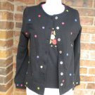 NEW Women Black Multi Dot Cardigan Twin Set Size PP S Sweater 100% Cotton