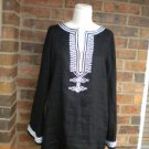 MICHAEL KORS Women 100% Linen Tunic Blouse Shirt M Size Top Black /White