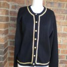 TALBOTS Women Black /Gold Wool Blend Cardigan Size L Sweater
