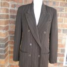BURBERRYS of LONDON Women 99% Wool Blazer Jacket 4 S Size Brown Pinstripe