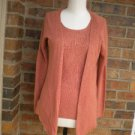 BELFORD Women 100% Silk Cardigan Twin Set Size S Rust Sweater