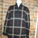 LAUREN RALPH LAUREN Women Plaid Zip Cardigan Size M Sweater 100% Cotton