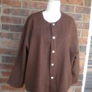 COLDWATER CREEK 100% Linen 2 Pc Top Twin Set Size M Brown Twinset Jacket Shell