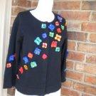 M C X Signature Black Women Rosette Cardigan Size M Sweater MCX Floral