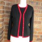 G KNITWEAR Women Cardigan Twin Set Size S NEW Sweater Black /Red