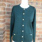 TALBOTS Women Green 100% Merino Wool Cardigan Size M Sweater