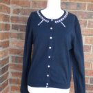 MARC JACOBS Women Navy Beaded Cardigan Sweater Top Size L Embellished
