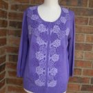 JOSEPH A Women Embroidered Cardigan Sweater Size L Purple Rayon Blend $68 NEW