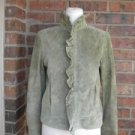 HAROLD'S Women Suede Leather Jacket Size S Lined Ruffle Green