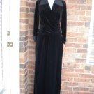 TALBOTS Women 2 PC Top Skirt Set Size 8 Black Velour Side Slit Formal Outfit NEW