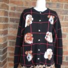 JAYSON YOUNGER Women Dogs Cardigan Sweater Size M L Made in Hong Kong