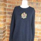 LAUREN RALPH LAUREN Women Crest Sweater Size L Navy Logo