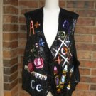 The QUACKER FACTORY Women Sequin Vest Size 3X Alphabet Number Tic Tac Toe
