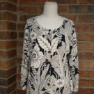 "CHICO""S Women Cardigan Sweater Size 2 L 12/14 Silk Blend Floral Top Black/Ivory"