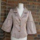 DIVA By DANA BUCHMAN Women Brown/Pink Multi Blazer Jacket Size XS NEW $208.00