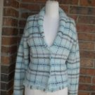 BANANA REPUBLIC Women Wool Angora Cardigan Sweater Size XS S Blue Plaid Fringe