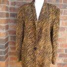 DANA BUCHMAN Woman Blazer Size 8 M Lined 100% Silk Jacket Animal Print