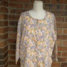 FLAX Women Floral 100% Linen Blouse Shirt Top Size M