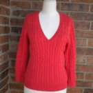 MICHAEL KORS Women Cable Sweater Size S Orange V Neck Top