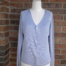 BANANA REPUBLIC Women Cardigan Sweater Size L 100% Silk Purple Ribbed Top