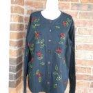 The QUACKER FACTORY Black Lady Bug Beetle Shirt Blouse Top Size L