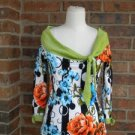 ALBERTO MAKALI Floral Top Size S M Women Tie Neck Shirt Sequin 3/4 Sleeve