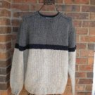 J CREW Men Thick Sweater Size M 100% Wool Hand Knit Crew Neck Gray/Navy