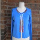 JOSEPH A Women Cardigan Sweater Size M Silk Blend Blue Sequin Top NEW