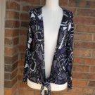 CHICO'S Women Blouse Top Size 1 M 8/10 Tie Front Shirt Nylon Blend