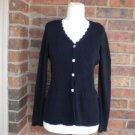 APRIL CORNELL Women Cardigan Sweater Size S Ribbed Black Top For Cornell Trading