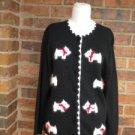 CRYSTAL KOBE Women Cardigan Sweater Size S Jingle Bell Dogs Top NEW
