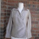 LAFAYETTE 148 New York Wrap Blouse Size 6P 6 100% Silk Beige Long Sleeve