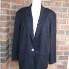 REAL CLOTHES SAKS FIFTH AVENUE 100% Silk Blazer Jacket Size 14 Women Black Lined