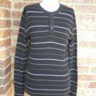 VINCE Women Black/Gray Stripe Cotton Blend Polo Shirt Top Size M