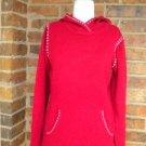 ANN TAYLOR LOFT Women Hoodie Sweater Size M Wool Blend Red/White Hooded Top