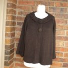 NYGARD Collection Women Cardigan Sweater Size XL Wool Blend Brown Top 3/4 Sleeve