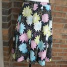 RAFAELLA Cotten Blend Pleated Black Muti floral Skirt Lined  Size 6