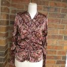 NICOLE MILLER  COLLECTION Silk Paisley Ruched Zip Blouse Top Size 12 L