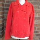 ELLA MOSS Women Orange Double Breast Corduroy Blazer Jacket Size Large L