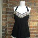 NANETTE LEPORE Women Black 100% Silk Beaded Halter Top Blouse Size 6 S M  Lined