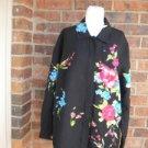 LAURA ASHLEY Blouse Shirt Top Size L Linen Silk Black floral