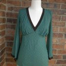 SWEET PEA by STACY FRATI Women Green/Brown Baby Doll Bell Sleeve Top Size S M