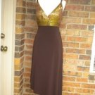 MARY L Couture Brown/Gold Metallic Formal Cocktail Party Dress Size 12 NEW $198