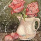 Pink Roses in Porcelain Pitcher